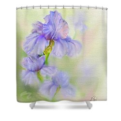 Shower Curtain featuring the painting Purple Iris by Bonnie Willis