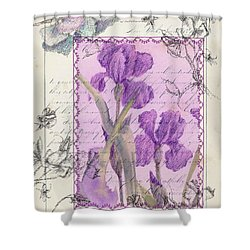 Shower Curtain featuring the drawing Purple Iris by Cathie Richardson