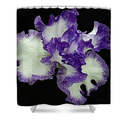 Shower Curtain featuring the photograph Purple Iris Frills by Jean Noren