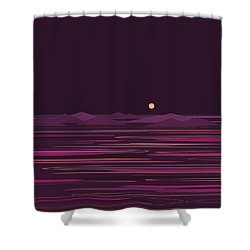 Purple Isle Shower Curtain by Val Arie