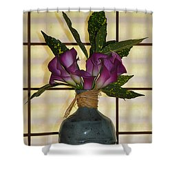 Purple Lilies In Japanese Vase Shower Curtain by Bill Cannon