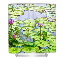 Shower Curtain featuring the painting Purple Lotus Flower  by Lanjee Chee