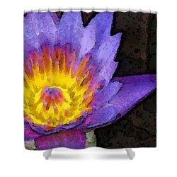 Purple Lotus Flower - Zen Art Painting Shower Curtain by Sharon Cummings