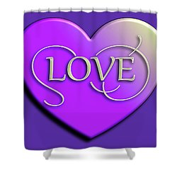 Purple Love Heart Shower Curtain