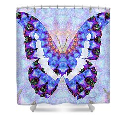 Shower Curtain featuring the painting Purple Mandala Butterfly Art By Sharon Cummings by Sharon Cummings