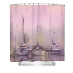 Shower Curtain featuring the digital art Purple Marina Morning by Shelli Fitzpatrick
