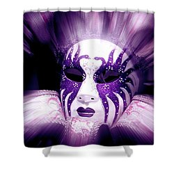 Purple Mask Flash Shower Curtain by Amanda Eberly-Kudamik