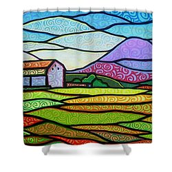 Shower Curtain featuring the painting Purple Mountain Majesty by Jim Harris
