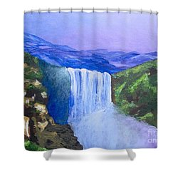Shower Curtain featuring the painting Purple Mountains by Saundra Johnson