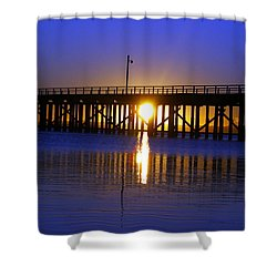 Purple Ocean Sunrise Shower Curtain by Gary Crockett