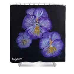 Purple Pansies Shower Curtain by Rod Jellison
