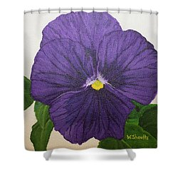 Purple Pansy Shower Curtain by Wendy Shoults