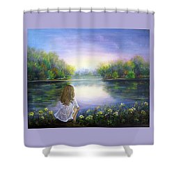 Purple Peace Shower Curtain by Vesna Martinjak