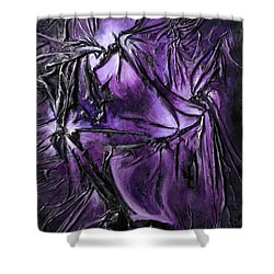 Shower Curtain featuring the mixed media Purple Pedals by Angela Stout