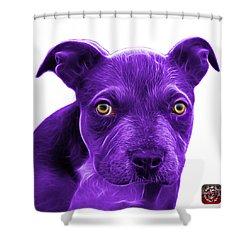 Purple Pitbull Puppy Pop Art - 7085 Wb Shower Curtain by James Ahn