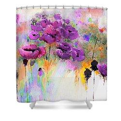 Purple Poppy Passion Painting Shower Curtain