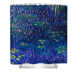 Purple Rain On Water Lilies Shower Curtain