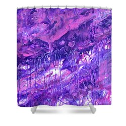 Purple Rain Shower Curtain by T Fry-Green