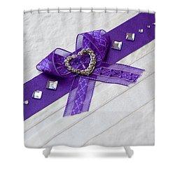 Purple Ribbon Heart Shower Curtain