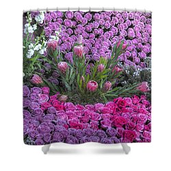 Purple Roses, Pinks And White Shower Curtain