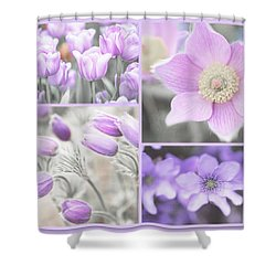 Shower Curtain featuring the photograph Purple Spring Bloom Collage. Shabby Chic Collection by Jenny Rainbow