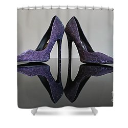 Purple Stiletto Shoes Shower Curtain by Terri Waters