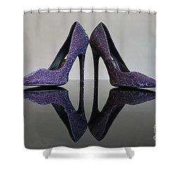 Purple Stiletto Shoes Shower Curtain