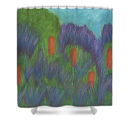 Purple Strife And Cattails Shower Curtain