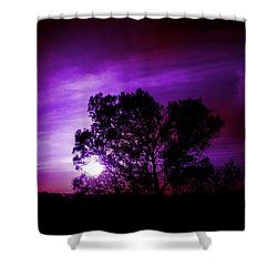 Purple Sunset Shower Curtain by Robert Ball