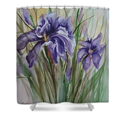 Purple Times 3 Shower Curtain