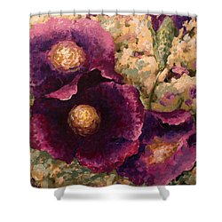 Purple Trio-flowers Shower Curtain