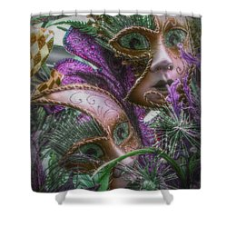 Purple Twins Shower Curtain by Amanda Eberly-Kudamik