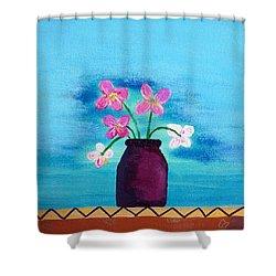 Purple Vase Shower Curtain by Haleh Mahbod