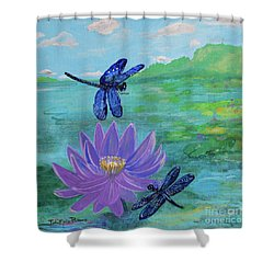Purple Water Lily And Dragonflies Shower Curtain