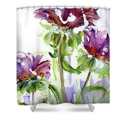 Shower Curtain featuring the painting Purple Wildflowers by Dawn Derman