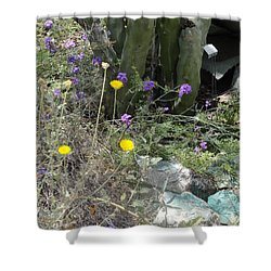Purple Yellow Flowers Green Cactus Shower Curtain