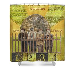 Shower Curtain featuring the mixed media Pursuit Of Happiness by Desiree Paquette