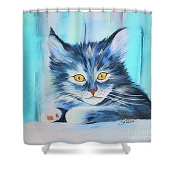 Shower Curtain featuring the painting Pussy Cat by Jutta Maria Pusl