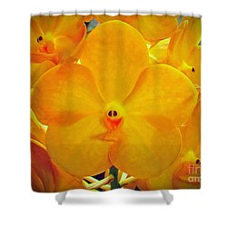 Put On A Happy Face Yellow Orchids Shower Curtain