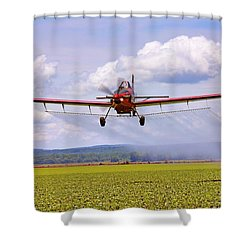 Putting It Down - Ag Pilot - Crop Duster Shower Curtain by Jason Politte