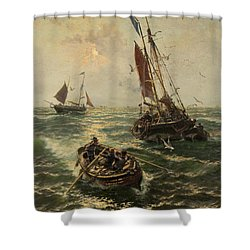 Putting The Catch Ashore Shower Curtain by Thomas Rose Miles