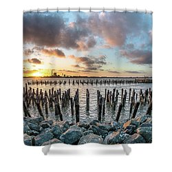 Shower Curtain featuring the photograph Pylons Mill Sunset by Greg Nyquist