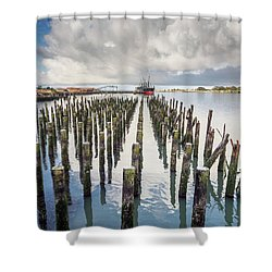Shower Curtain featuring the photograph Pylons To The Ship by Greg Nyquist