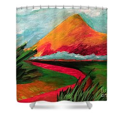 Pyramid Mountain Shower Curtain by Elizabeth Fontaine-Barr
