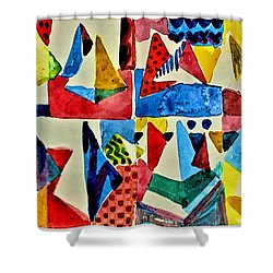 Shower Curtain featuring the digital art Pyramid Play by Mindy Newman