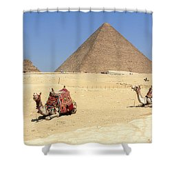 Shower Curtain featuring the photograph Pyramids Of Giza by Silvia Bruno