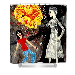 Pyro The Firebird Shower Curtain by Sushila Burgess
