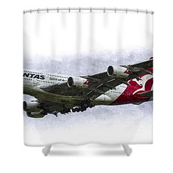 Qantas Airbus A380 Art Shower Curtain