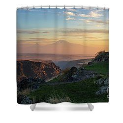 Qasakh Gorge And Ararat Mountain At Golden Hour Shower Curtain