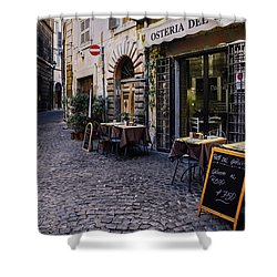 Quaint Cobblestones Streets In Rome, Italy Shower Curtain